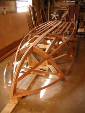 i am sending you and glen l a couple of pictures of my zip boat frame it is coming along nicely the frame is all mahogany fastened together with epoxy